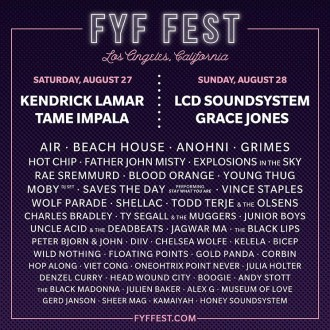 FYF 2016 announces full lineup. Artists taking part include LCD Soundsystem, Tame Impala