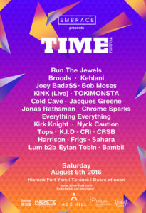 Time Festival returns with Run The Jewels, Broods, Bob Moses, and more