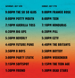 Out In The Streets Announces Festival Set Times, and after party. Bands taking part include The So So Glos, Frankie Rose,