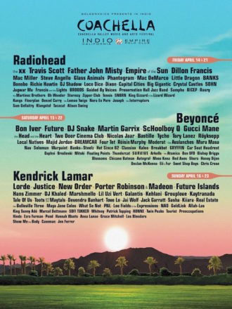Coachella unveils 2017 lineup featuring Radiohead, Beyonce, Kendrick Lamar as headliners