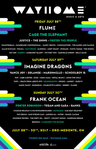WayHome 2017 Announces Additional Acts Including Cage the Elephant, Porter Robinson, Mutemath, San Fermin and more. WayHome 2017, takes place July 28th-30th
