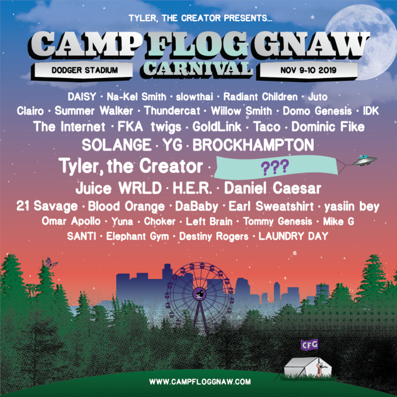 Tyler The Creator Reveals Camp Flog Gnaw 2019 Lineup, with performances by Tyler, Solange, FKA twigs, Clairo, DaBaby, Omar Apollo, and many more