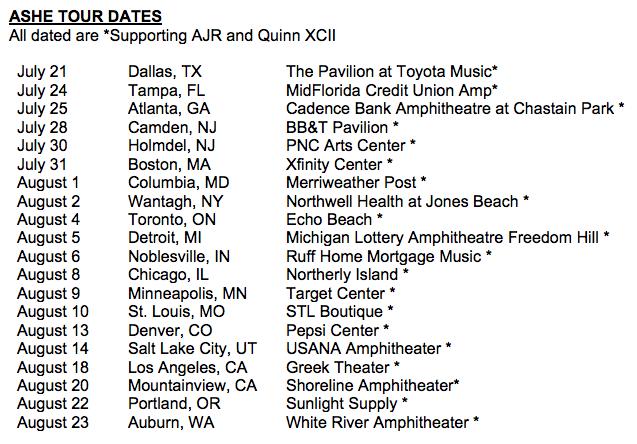 Ashe 2020 tour dates