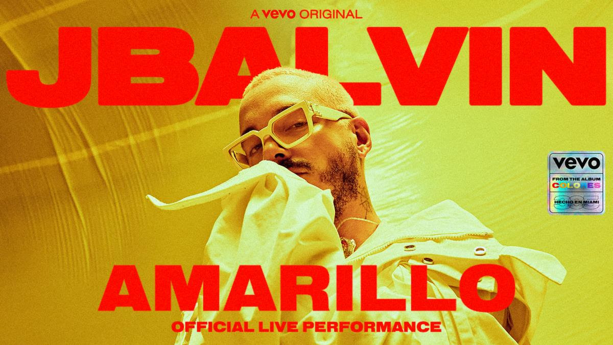 """J Balvin has released a live performance of """"Amarillo."""" Additional performances of """"Azul,"""" """"Negro"""" and """"Rojo"""" will be released next week via Vevo"""