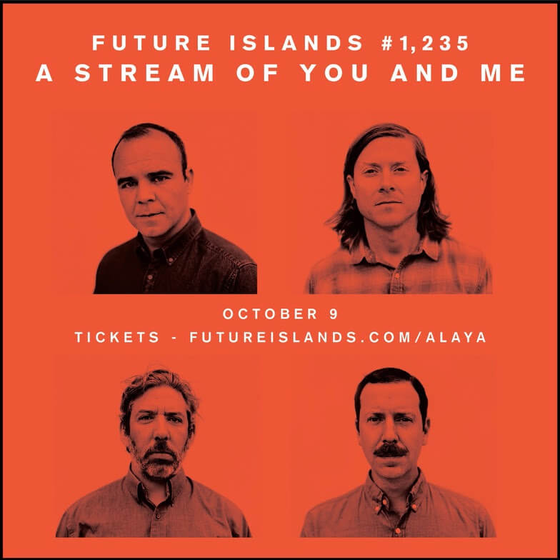 On October 9th, Future Islands will release their sixth full length album As Long As You the band will perform their only show of 2020