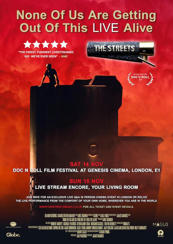 The Streets will be hosting a socially-distanced, in person event as part of the Doc N Roll Film Festival at Genesis Cinema in London